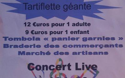 Fête de Belle Plagne dimanche 2 août: tartiflette géante, tombola, braderie, concert et feu d'artifice !